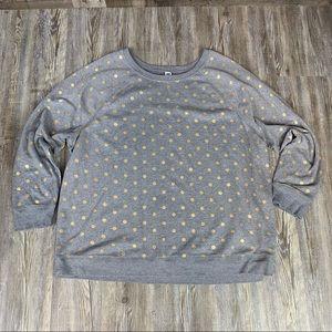 Old Navy Gray Gold Polka Dot Sweatshirt Size XXL